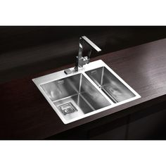 Dimensions: 595 x 510 x Flush or flat-mount kitchen sink, one and a half bowl, premium stainless steel material, in satin finish. Popup, Stainless Steel Material, Kitchen Sink, Building A House, Home Decor, Satin Finish, Sinks, Flat, Safety Glass