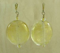 Round Venetian Gold and Clear Glass Earrings by Ronnie7 on Etsy, $30.00