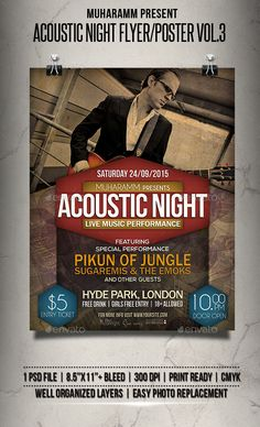 Acoustic Night Flyer / Poster Template PSD #design Download: http://graphicriver.net/item/acoustic-night-flyer-poster-vol3/13398650?ref=ksioks