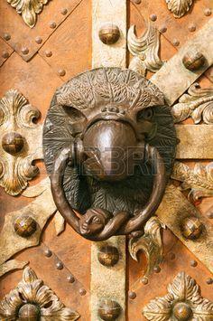 Ancient door knocker in eagle form on St. Vitus Prague cathedral