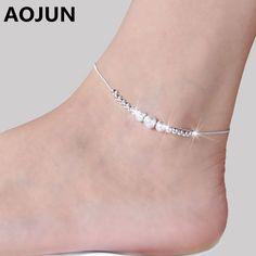 AOJUN Silver Ankle Bracelet //Price: $2.73 & FREE Shipping //     #hashtag4