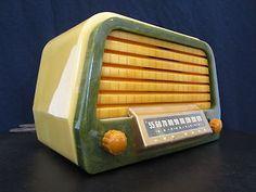 1945 Air King, marbled swirls, Bakelite radio on EBay for $500.00 as of 4-21-12.