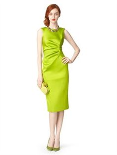 SLEEVELESS PENCIL DRESS WITH WAIST GATHERING, $1,790.00 Citrine Oscar's love for strong-yet-streamlined design comes alive in this duchess satin dress amplified in rich jewel tones. The classic silhouette is updated with a gathered waist for an incredibly flattering effect. Pair with metallic accents to complete the look.  • 89% polyester / 8% polyamide / 3% elastane  • Dry clean only