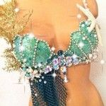 Gold Green Mermaid Fantasy Rave Bra