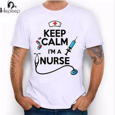 odyke brand 2017 newest summer High quality men's T-shirt Keep calm i'm a nurse Tee shirt novelty design boy tops