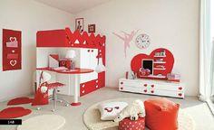 Heart themed girls bedroom decorating ideas : amazing heart theme red and white girls bedroom decoration Bedroom Red, Bedroom Themes, Girls Bedroom, Bedroom Decor, Red Bedrooms, Bedroom Ideas, Girl Room, Bedroom Interiors, Bedroom Modern