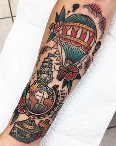 Old School Tattoo: History and Inspirations - Colorful tattoo travel to the Wonderlust world. See more Old School tattoos on the Marco da Moda bl - Finger Tats, Body Art Tattoos, Sleeve Tattoos, Key Tattoos, Skull Tattoos, Foot Tattoos, Tatoos, Skink Tattoo, Graffiti Tattoo