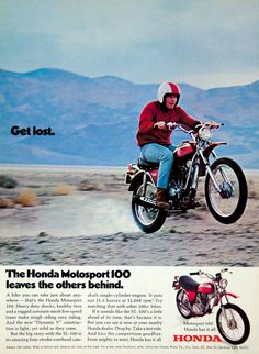1970 Ad Honda Motorsport 100 Classic Motorcycle Transportation Get Lost Vehicle