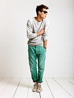 Sea green jeans . Menswear
