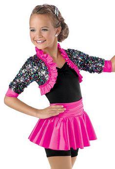 Sequin Shrug Peplum Biketard -Weissman Costumes(my new philosophy) My first year jazz costume Dance Costumes Kids, Tap Costumes, Cute Costumes, Ballet Costumes, Costume Ideas, Dance Outfits, Dance Dresses, Figure Skating Dresses, Dance Poses