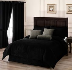 Amazon.com - Chezmoi Collection 7-pieces Black Microsuede Comforter Set with Crocodile Embossed Cushions, Queen -