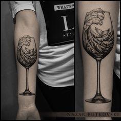 my ocean in a wineglass #tattoo #dotwork #linework #darkart #blacktattoo