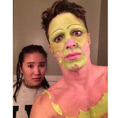 Pin for Later: Stars Show Off Sexy and Spooky Halloween Looks on Instagram  Colton Haynes showed us how it looked when he started peeling away the makeup for Princess Fiona from Shrek.