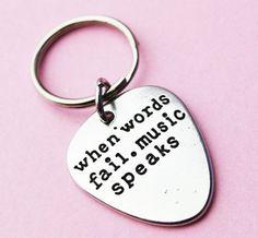 Pick keyring Music Gift for him Boyfriend by BeesHandStampedGifts