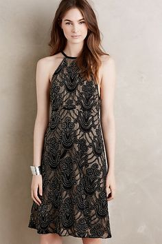 Beaded Silk Halter Dress #anthropologie