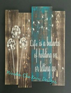 Life is a Balance wood sign is sure to bring attention where its displayed. Hand made from solid pine wood, painted with high quality indoor/outdoor paint and sealed with a UV resistant protective finish to increase the life of your sign. All signs will h Pallet Crafts, Pallet Art, Pallet Signs, Wood Crafts, Diy Crafts, Wood Projects, Craft Projects, Barn Board Projects, Distressed Signs