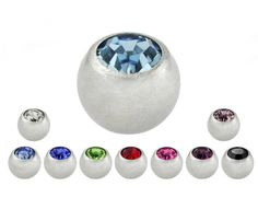 Surgical Steel Crystal Individual Spare Part Body Jewelry Balls Set of 2 | eBay