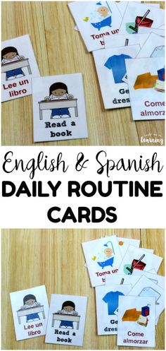 Help little ones structure their days with these printable daily routine cards for kids! Available in both English and Spanish! High School Activities, Kids Learning Activities, Spanish Activities, Educational Activities, Toddler Activities, German Language Learning, Spanish Language, French Language, Homeschool Curriculum Reviews