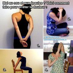 Ça arrive souvent quand on est assis toute la journée devant son ordinateur. Heureusement, voici 4 p'tits exercices à faire pour soulager la douleur.  Découvrez l'astuce ici : http://www.comment-economiser.fr/mal-au-cou-epaule-douleur.html?utm_content=buffer26a2f&utm_medium=social&utm_source=pinterest.com&utm_campaign=buffer