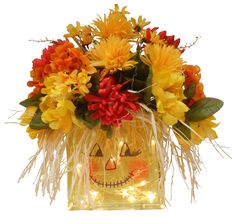 Light Me Up Scarecrow designed by Gloria, A.C. Moore Warwick, RI #glassblock #craft #fall