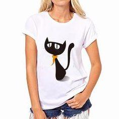 Girl Lady/'s Cropped Dancing Top T Shirt Hanging Camera imprimé en coton blanc UK