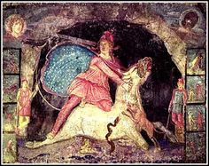Mithras with stars beneath his cape. Detail of fresco from Mithraic temple in Marino, Italy, 2nd cent. CE