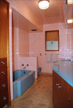 Mid Century Pink & Blue Bath    1958 Portland bathroom in perfect original condition. Even the ceiling is pink tile!