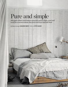 'Pure and Simple' by Ditte Isager for Elle Decor UK. Grey rumpled linen bedding.