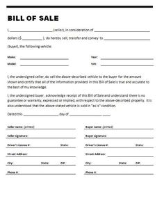 Printable Sample Vehicle Bill of Sale Template Form | Attorney ...