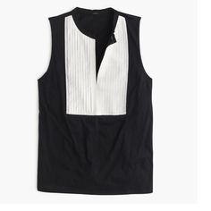 """J.Crew Tuxedo Tank Top J. Crew Tux-inspired tank with a pleated bib collar.  100% cotton.  25"""" length.  Has a slim fit.   Black/ivory.  NWT.  Never wore it because it's a little too small for me. J. Crew Tops Tank Tops"""