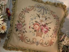 "18"" Needlepoint Pillow Cushion Beautiful French Country Chic Shabby Style #Unbranded #FrenchAubusson"