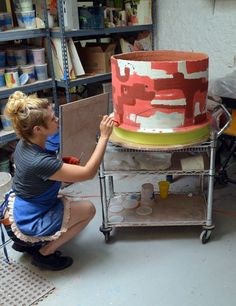 Ceramic artist Lauren Mabry at work!