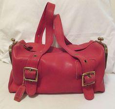 Coach 1960s Bonnie Cashin Leather Red Orange Vintage Purse COACH Bag Mid Century