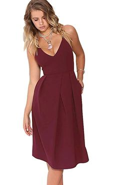 Eliacher Women s Deep V Neck Adjustable Spaghetti Straps Summer Dress  Sleeveless Sexy Backless Party Dresses with 14d8da7cb2cd