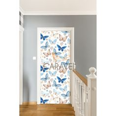 Παιδικό Αυτοκόλλητο Πόρτας με μπλε πεταλούδες Curtains, Quilts, Shower, Blanket, Bed, Home Decor, Rain Shower Heads, Blinds, Decoration Home