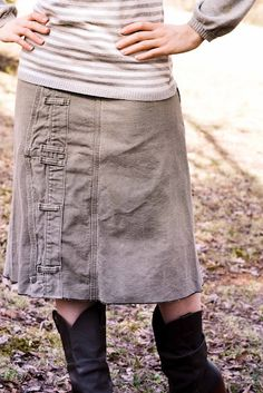 Repurposed men's jeans into skirt in a different (and cute AND simple way)