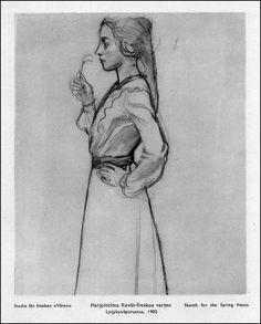 Sketch for Spring fresco Akseli Gallen-Kallela