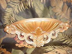 Vintage Regency Gold-tone Wall Pocket 1960s Universal Ornate Hard Plastic  16 in #WallDecor