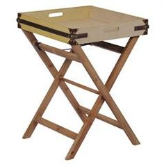 WOODEN TRAY TABLE/PU/FABRIC IN BEIGE-BROWN COLOR 50X50X68