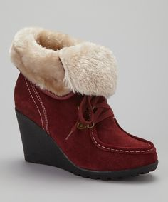 70d583ad41ac Take a look at this Burgundy Suede Sahara Wedge Boot by Beacon Shoe Company  on today!