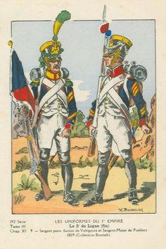 French; 3rd Line Infantry, Voltigeur Sergeant Porte Fanion & Fusilier Sergeant-Major, 1809