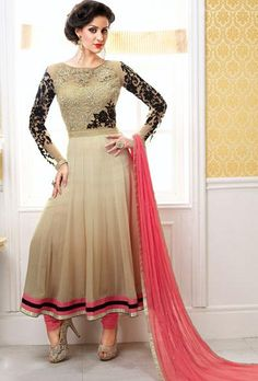 Beige Flower Patch Work Long #Anarkali Suit