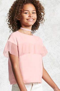 Girls Mesh Ruffle Top (Kids)