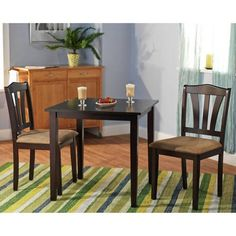 Luxury and Comfortable Three Piece Dining Set, Made from Sturdy Rubberwood, Micro Fiber Fabric and Foam Materials, Excellent Chice for Your Living and Dining Room, Espresso + Expert Guide Small Kitchen Table Sets, Small Table And Chairs, Dining Set With Bench, Nook Dining Set, 3 Piece Dining Set, Table And Chair Sets, Dining Room Sets, Kitchen Ideas, Nook Table