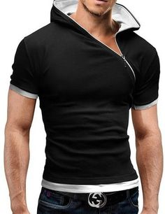 29dc10ccf 2018 New Men's Zipper Shirt Tops Tees Summer Cotton V Neck Short Sleeve T  Shirt Men