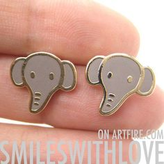 SALE Elephant Animal Stud Earrings in Grey on Gold from Dotoly Love $5.00