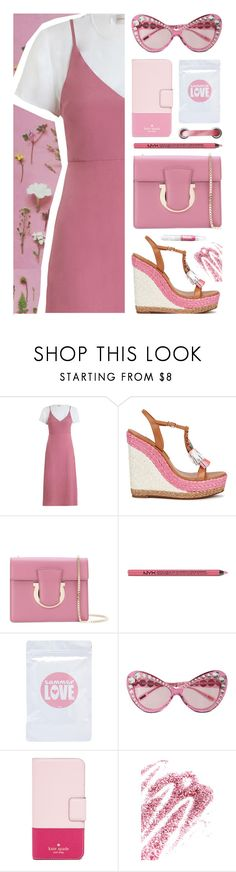 """Pink"" by deepwinter ❤ liked on Polyvore featuring Zimmermann, Sophia Webster, Salvatore Ferragamo, Charlotte Russe, Moschino, Kate Spade and Obsessive Compulsive Cosmetics"