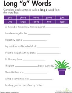 "Worksheets: Long ""o"" Sound"