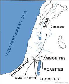 The Nations Defeated by King David (Ammonites, Moabites, Edomites, Amalekites, Philistines, Aramites) --- showing the base in the Jebusite city of Jerusalem