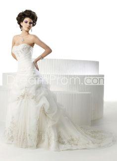 US $241.09 Free Shipping Elegant A-Line Sweetheart Sleeveless Beading Embroidery Organza Wedding Dresses (3AA0051)